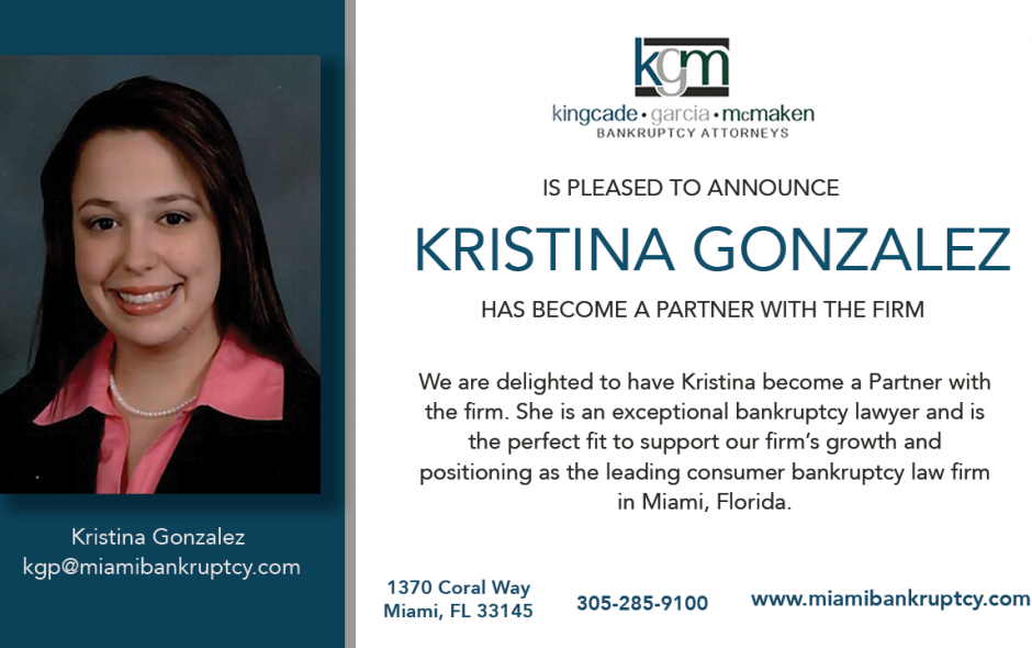 Kristina Gonzalez Named Partner at Kingcade Garcia McMaken, P.A.