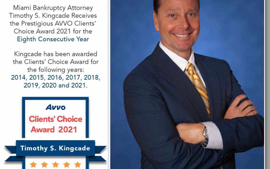 Miami Bankruptcy Attorney Timothy S. Kingcade Receives the Prestigious AVVO Clients' Choice Award 2021 for the Eighth Consecutive Year