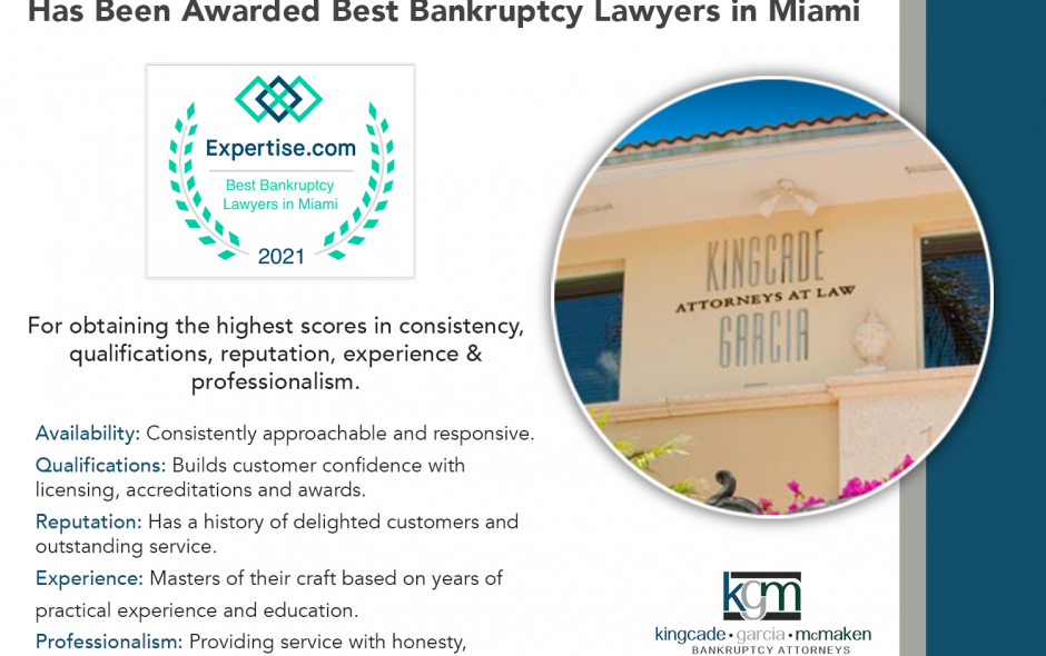 Kingcade Garcia McMaken Awarded  'Best Bankruptcy Lawyers in Miami' for 2021